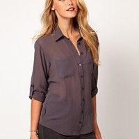 ASOS Shirt With Roll Back Sleeve at asos.com