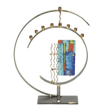 Circular Art Deco Menorah By Gary Rosenthal In Multi-Colored,silver,gold