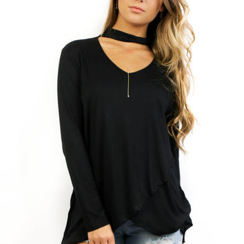 Grand Isle Black Long Sleeve Tunic Top