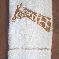 Giraffe Silhouette Embroidered bathroom hand towel.