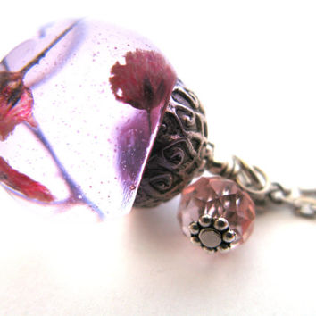 Red Baby's Breath  Resin Pendant Necklace Sphere- real pressed flowers encased in resin orb, Pressed Flower Jewelry