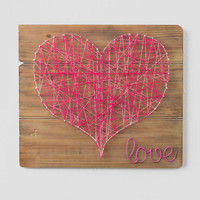 Pink String Heart Wood Wall Decor