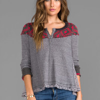 Free People Cabin In The Woods Top in Charcoal Combo