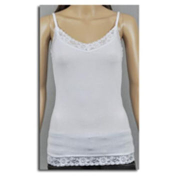 Women's Camisoles with Lace Trim - White