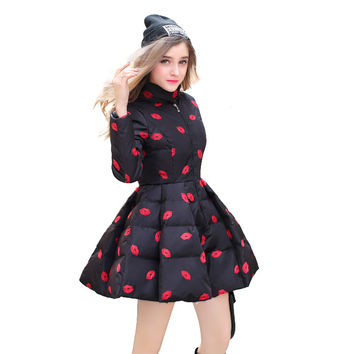 XL-5XL Large Size Women Down Jacket Fashion Show  Lips Stamp Femal Parkas A Skirt  Long Coat Print Womens Winter  20151210-1