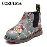 COZULMA Boys Girls Boots Winter Spring Boys Girls Martin Boots Fur Plush Children Leather Boots Kids Shoes Baby Boys Girls Shoes