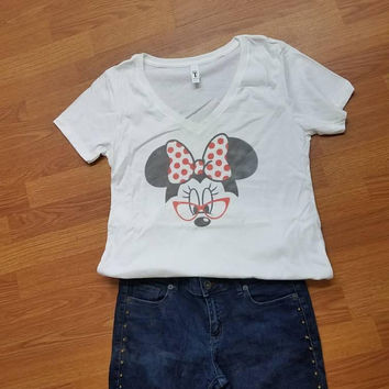 Minnie - mouse - love - Disney -  ladies - t - shirt- v - neck - short - sleeve - disney - princess