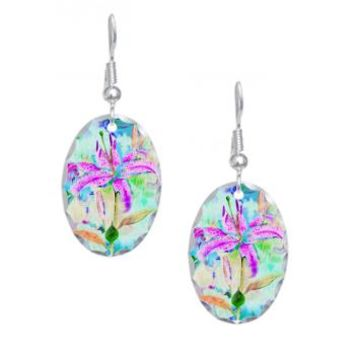Colorful Watercolor Orchids Earring Oval Charm> Colorful Watercolor Orchids> Accessorize Me
