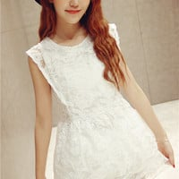 White Embroidered Lace Blouse and Skirt