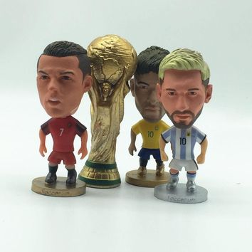4PCS/lot Soccerwe Soccer Star Figure Portugal Brasil Argentina Ronaldo Messi Neymar Cup Trophy Dolls for 2018 Cup Gift