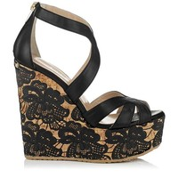 Black Nappa with Lace Wedge Sandals   Cruise 2013   JIMMY CHOO Sandals