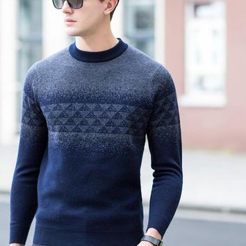 Men's Casual Wool Pullover Sweater Business Formal Sweaters Jacquard Patterns Long Sleeve Male Clothing