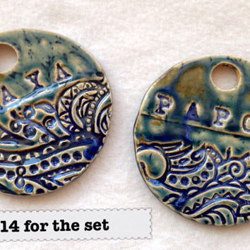 Yiayia & Papou CUSTOM order for Tia Keenan Christmas Ornaments Handmade ceramic  stamped pottery decoration gift Christmas tree decor Xmas