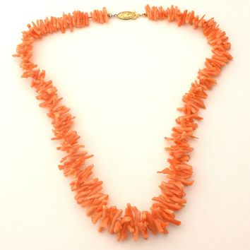 Graduated Branch Coral Necklace 20""