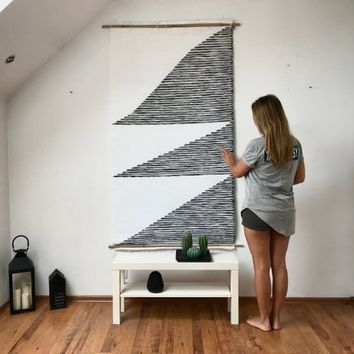 Geometric wall hanging, Woven wall hanging, Wall tapestry, Macrame wall hanging, Woven wall decor, White black tapestry, geometric patterns