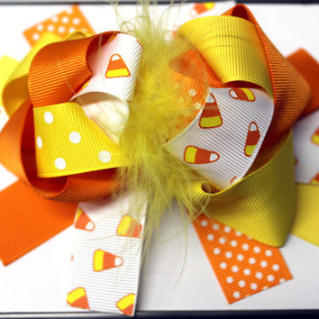 Candy corn hair bow Halloween hair accessories for girls Large hair bow Over the top hair bow Halloween hair bow Girls hair bow