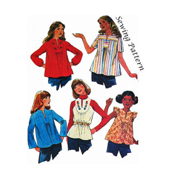McCall's 5364 Girl's Boho Hippie Yoked, Raglan or Set-In Sleeve Blouses Sewing Pattern Size Large Bust 30-32in/76-81cm Vintage 1970s UNCUT