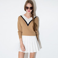 Color Block V-Neck Long Sleeves Knitted Sweater