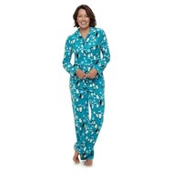 Women's Jammies For Your Families Penguin Pattern Button-Front Top & Bottoms Pajama Set | null