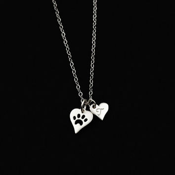 Monogrammed Initial, Dog Paw Print Necklace, Cat Paw Necklace, Heart of Gold, Silver Heart Initial Charm,Personalized Charm,Monogram Jewelry