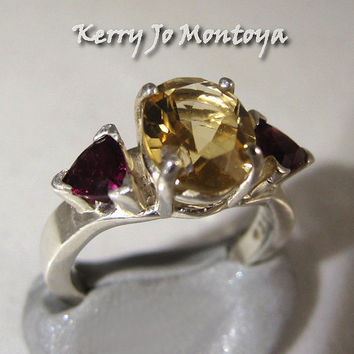 Statement Ring Size 7  ~ Citrine, garnet silver jewelry ~ Hollywood glamour for holiday party, Shimmer and shine with jewels, Fabulous rocks