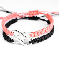 Infinity Couples or Friendship Bracelets Coral and Black
