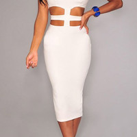White Cut-Out Waist Midi Dress