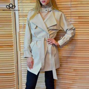 Trendy Bella Philosophy 2018 Autumn Winter Jacket Women Casual Belt Pocket Coat Female Loose Raincoat Long Sleeve Outwears For Ladies AT_94_13