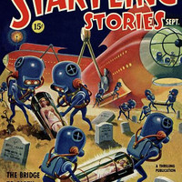 Vintage Sci Fi Poster Startling Stories Bridge To Earth