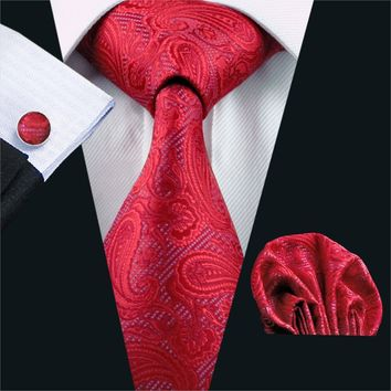 FA-293 Mens Ties Red Paisley 100% Silk Tie Hanky Cufflinks Set Barry.Wang Necktie Wedding Party Ties For Men Free Shipping