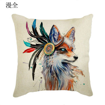 Hot Sale Pillowcase Lovely Animal Fox Pillow Case Cotton Linen Pillow Case Tree of life Cushion Cover Bedroom/Chair Seat 45cm