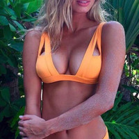 Orange Plunge Bathing Suit For Big Bust