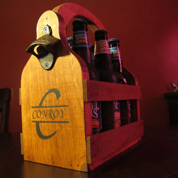 Customizable Handmade wooden Beer Carrier Beer Tote Beer Caddy wood with custom with name