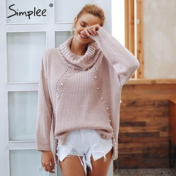 Simplee Beading turtleneck pearl plus size sweater Women 2018 Loose split casual knitted pullover Autumn long sleeve jumpers