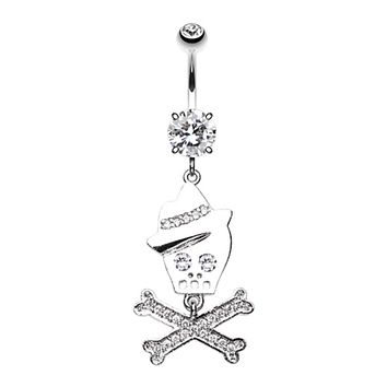 Fedora Skull & Crossbones Sparkle Belly Button Ring