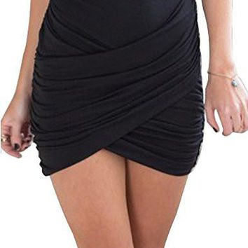 Women's Short Skirts Sexy Wrap Ruched Stretch Draped Short Mini Pleated Skirts