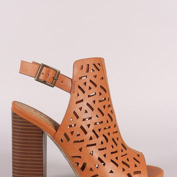 Bamboo Perforated Open Toe Chunky Mule Heel