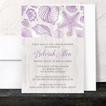 Purple Beach Bridal Invitations - Seashell Whitewashed Wood Beach Bridal Shower - Modern Rustic Beach Seashells - Printed Invitations