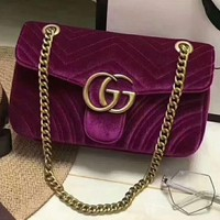 GUCCI Marmont Women Shopping Leather Metal Chain Crossbody Satchel Shoulder Bag H-LLBPFSH
