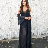 Elegant Encounter Pleated Maxi Dress - Black - ITEM OF THE DAY