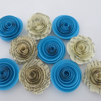 "Aqua Blue & Book page paper flowers, 10 piece set, 1.5"" roses, Ocean wedding theme, baby shower decor, bridal shower decorations"