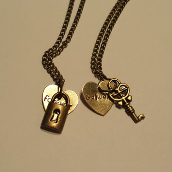 Forever and Always Lock and Key Couple necklace set