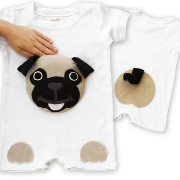 baby pug, pug shirt, pug gift, pug Onesuit, puppy Onesuit, dog Onesuit, baby shower gift, cute baby Onesuit, hipster baby clothes, baby boy gift