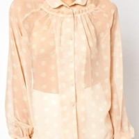 ASOS Blouse With Pleated Yoke In Spot Print at asos.com