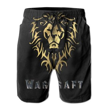 2016 World Of Warcraft Movie Symbol Alliance Mens Fashion Casual Beach Shorts