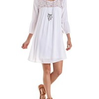 White Crochet-Yoke Bell Sleeve Shift Dress by Charlotte Russe