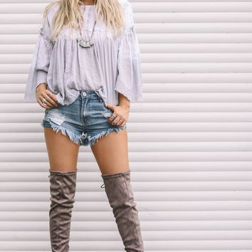 Above The World Taupe Thigh High Boots