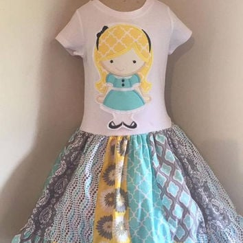 Alice In Wonderland Appliqued T Shirt Dress Available from 12m to 14/16