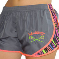 Lacrosse Gunmetal/Multi Zebra/Neon Orange Sport Shorts - Sportabella, Ltd Store