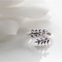 sterling silver twin leaves adjustable ring by DesignsByFlory